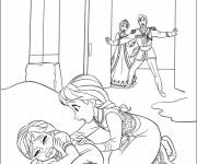 Coloring pages Little Elsa and her frightened sister