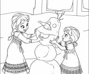 Coloring pages The Two Sisters build Olaf