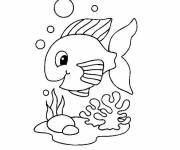 Free coloring and drawings Cute fish Coloring page