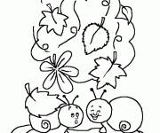 Free coloring and drawings Kindergarten funny snails Coloring page