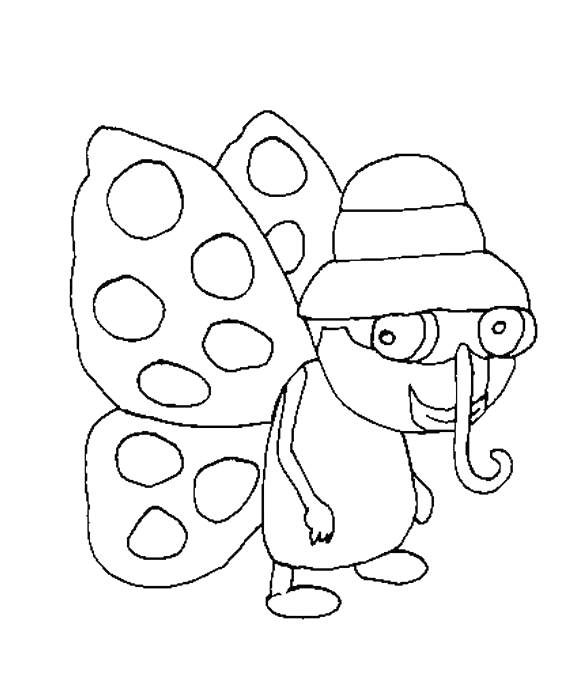 Free coloring and drawings A funny butterfly Coloring page