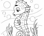 Coloring pages Funny seahorse seabed