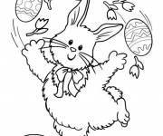 Coloring pages Rabbit plays with Egg