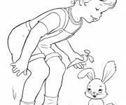 Coloring pages The Girl and The Smiling Rabbit