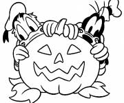 Free coloring and drawings Donald and pluto halloween pumpkin Coloring page