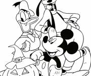 Coloring pages Goofy, Donald and Mickey proud of their Halloween pumpkin