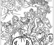 Coloring pages Halloween monsters party together