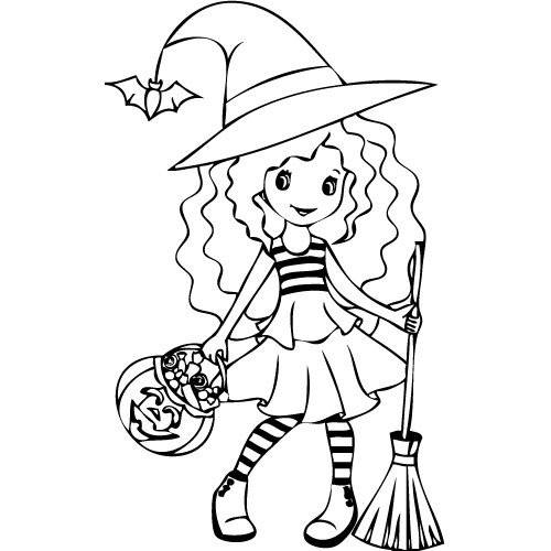 Free coloring and drawings Little witch and her candy pumpkin Coloring page