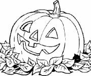 Free coloring and drawings A pumpkin decorated for Halloween Coloring page