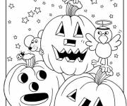Coloring pages Cute halloween pumpkins