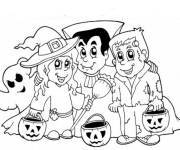 Coloring pages halloween kids and their pumpkins
