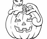 Coloring pages Halloween pumpkin and a cat
