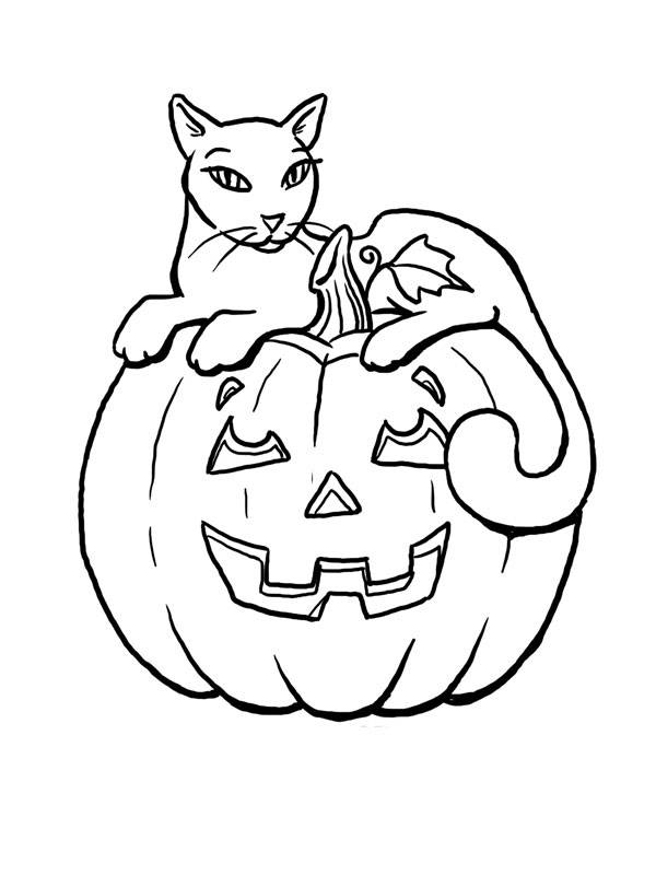 Free coloring and drawings Halloween pumpkin and a cat Coloring page