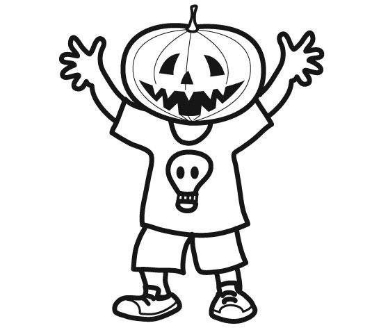 Free coloring and drawings Halloween pumpkin mask Coloring page