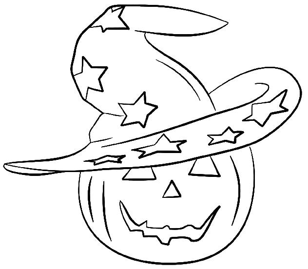 Free coloring and drawings Pumpkin and its magic hat Coloring page