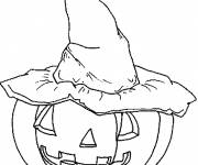 Coloring pages Pumpkin and witch hat