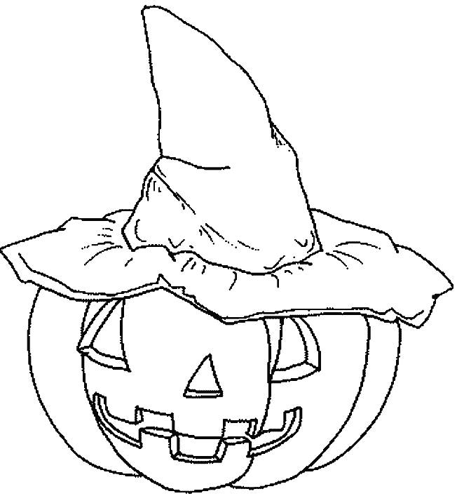 Free coloring and drawings Pumpkin and witch hat Coloring page