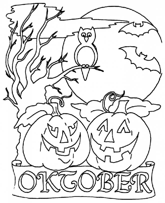 Free coloring and drawings Pumpkin halloween october Coloring page