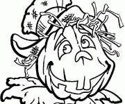 Coloring pages Scarecrow with a pumpkin head