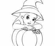 Coloring pages The witch and her Halloween pumpkin