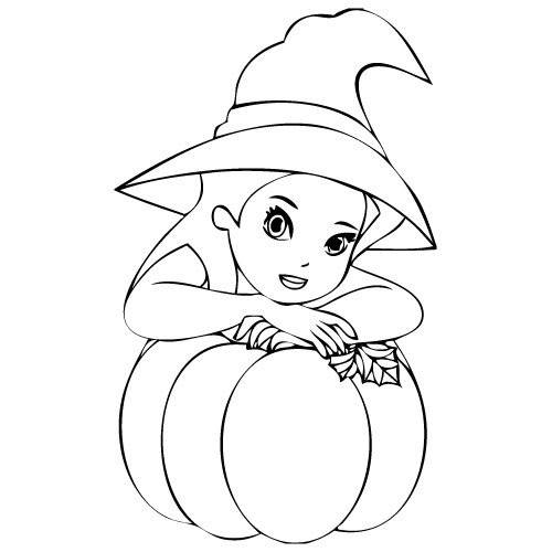 Free coloring and drawings The witch and her Halloween pumpkin Coloring page