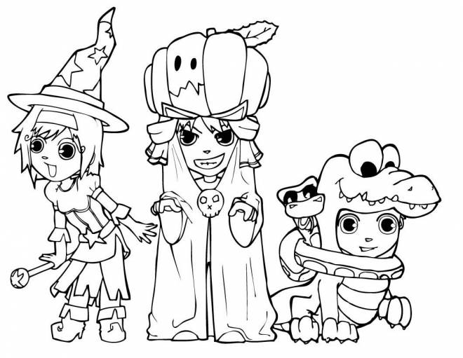 Free coloring and drawings Witch, crocodile and pumpkin spend Halloween Coloring page