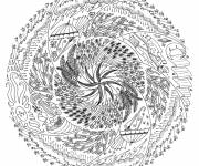 Coloring pages Difficult winter mandala