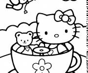 Coloring pages Hello Kitty and her stuffed toy outdoors
