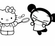 Coloring pages Hello Kitty and Pucca funny