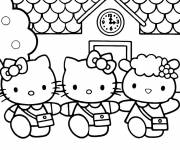 Coloring pages Hello Kitty at school