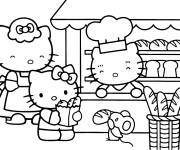 Coloring pages Hello Kitty buys good bread