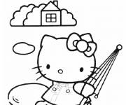 Coloring pages Hello Kitty carries her umbrella