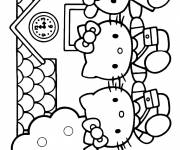 Coloring pages Hello Kitty has fun with her friends