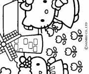 Coloring pages Hello Kitty in the countryside