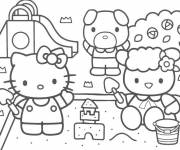 Coloring pages Hello Kitty plays with sand