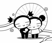 Coloring pages Pucca and Garou in love