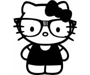 Coloring pages Hello Kitty and her Jersey in black