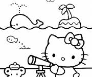 Coloring pages Hello Kitty at the maternal Beach