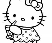 Coloring pages Hello Kitty drinks juice