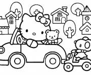 Coloring pages Hello Kitty drives her car