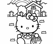 Coloring pages Hello Kitty wears Strawberries