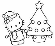 Coloring pages Hello Kitty and christmas