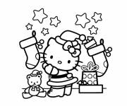 Coloring pages Hello Kitty and Christmas Gifts