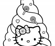 Coloring pages Hello Kitty and Christmas tree for children