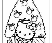 Coloring pages Hello Kitty and Christmas tree in color