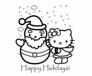 Coloring pages Hello Kitty and Christmas Vacations