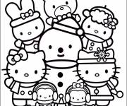 Coloring pages Hello Kitty and Pucca to color