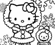 Coloring pages Hello Kitty and Snowflakes