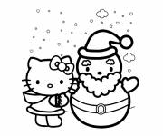Coloring pages Hello Kitty and Snowman