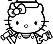 Coloring pages Hello Kitty carries the paint brush